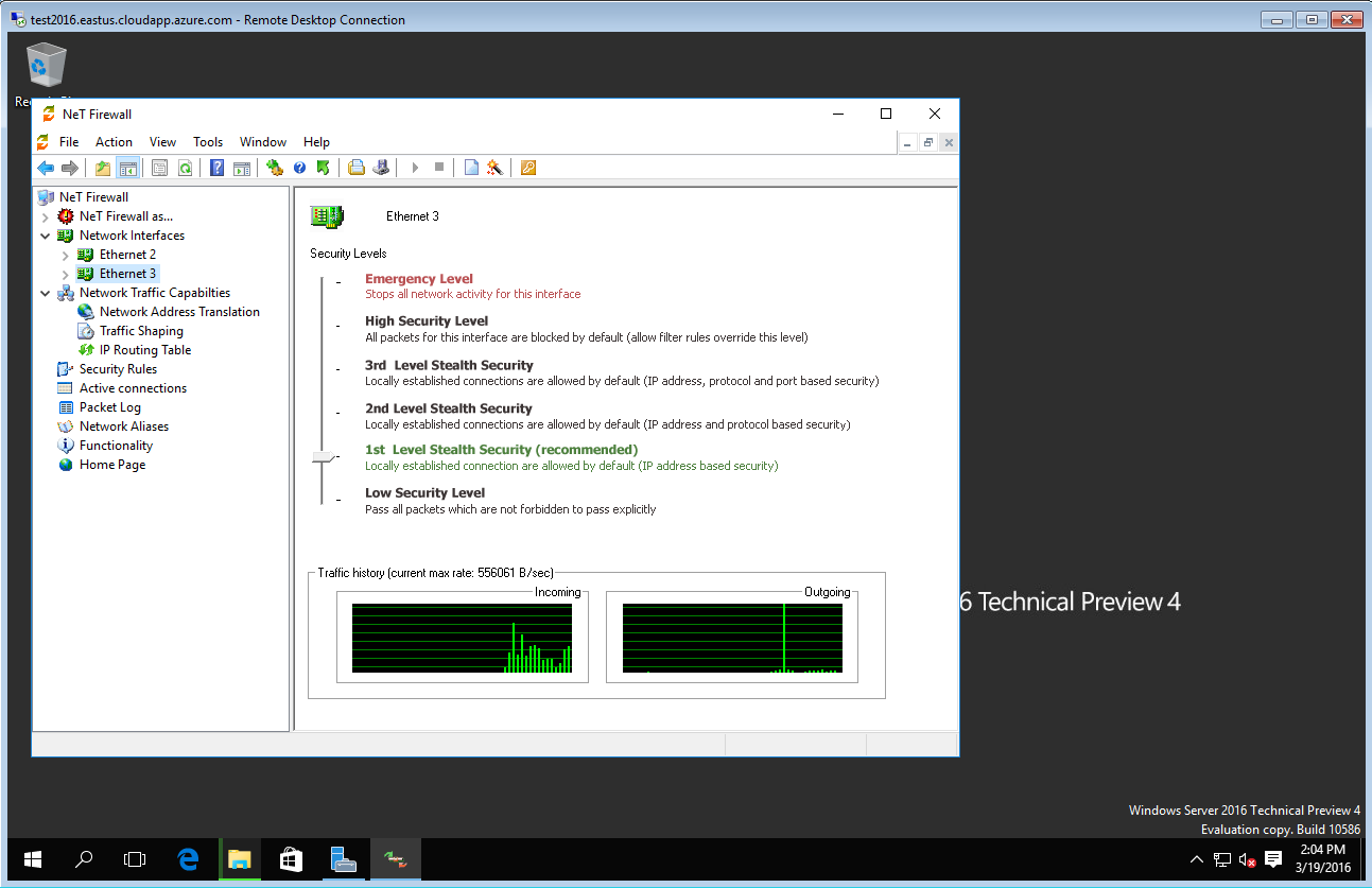 Net Firewall running on Windows Server 2016 Technical Preview 4 in Microsoft Azure cloud