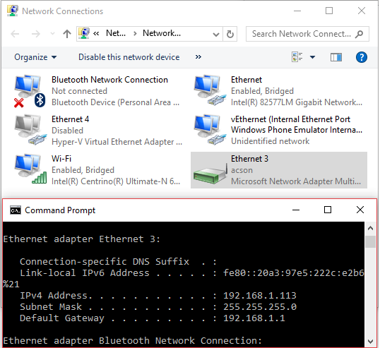 Windows built-in Network Bridge activated